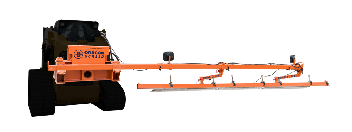 Orange skid steer attachment that screeds concrete and levels subgrade.