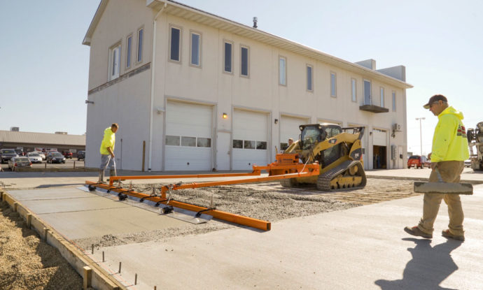 Vibratory, Hydraulic Skid Steer Powered Concrete Screed Machine and Gravel Grader