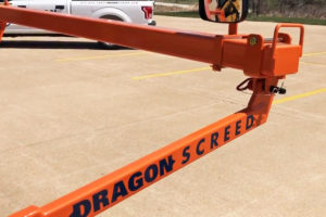 Dragon Screed's drag arms allow the screed bar to rise up and over concrete and gravel when the machine encounters too much resistance.